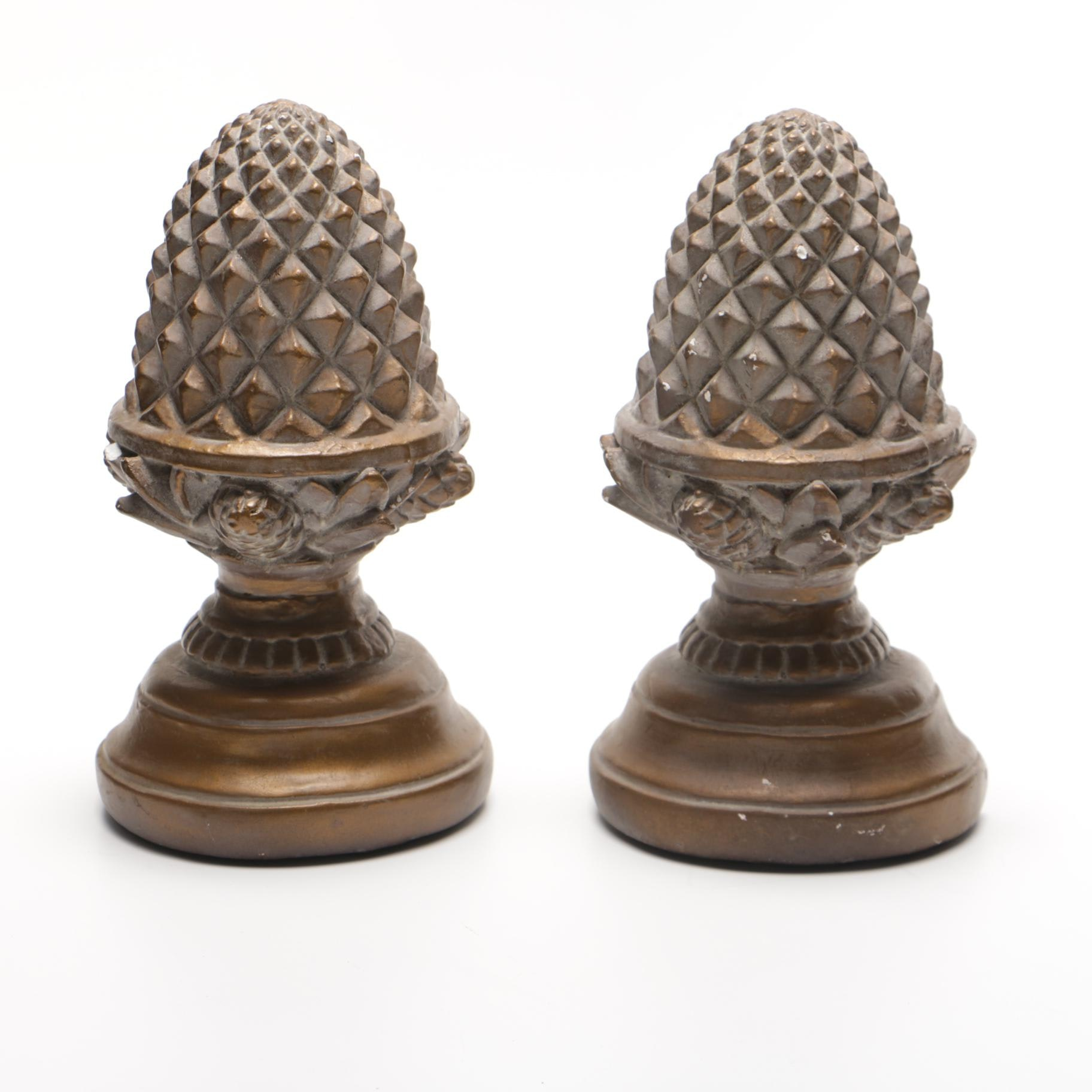 Pinecone Plaster Bookends
