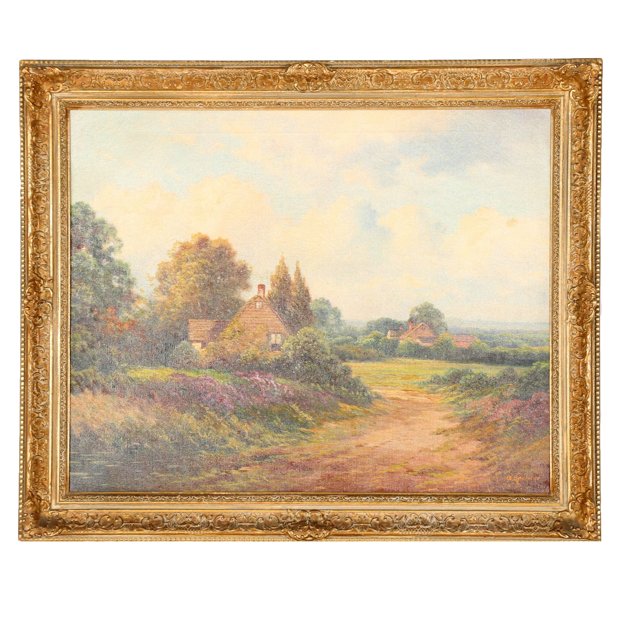 """A. Spencer Original Oil on Canvas """"Country Cottage"""""""