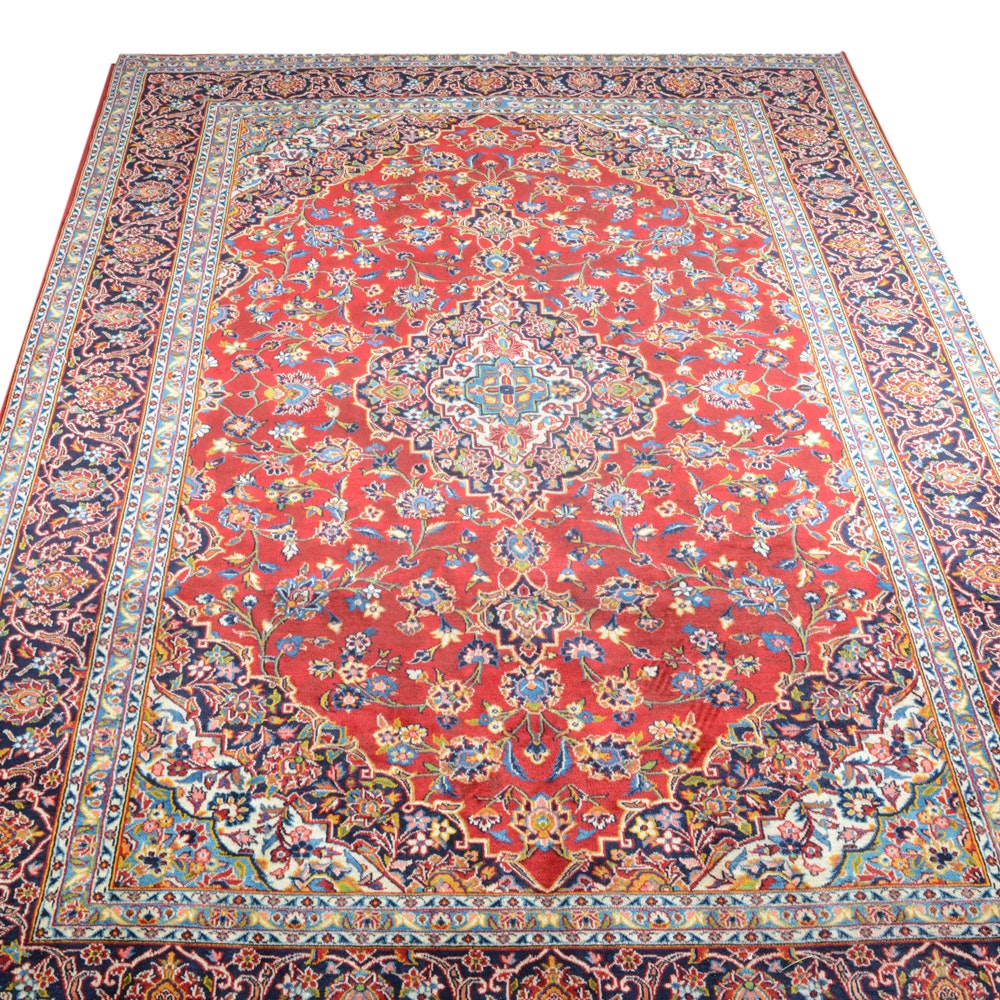 Signed Hand Knotted Persian Kashan Room Size Area Rug