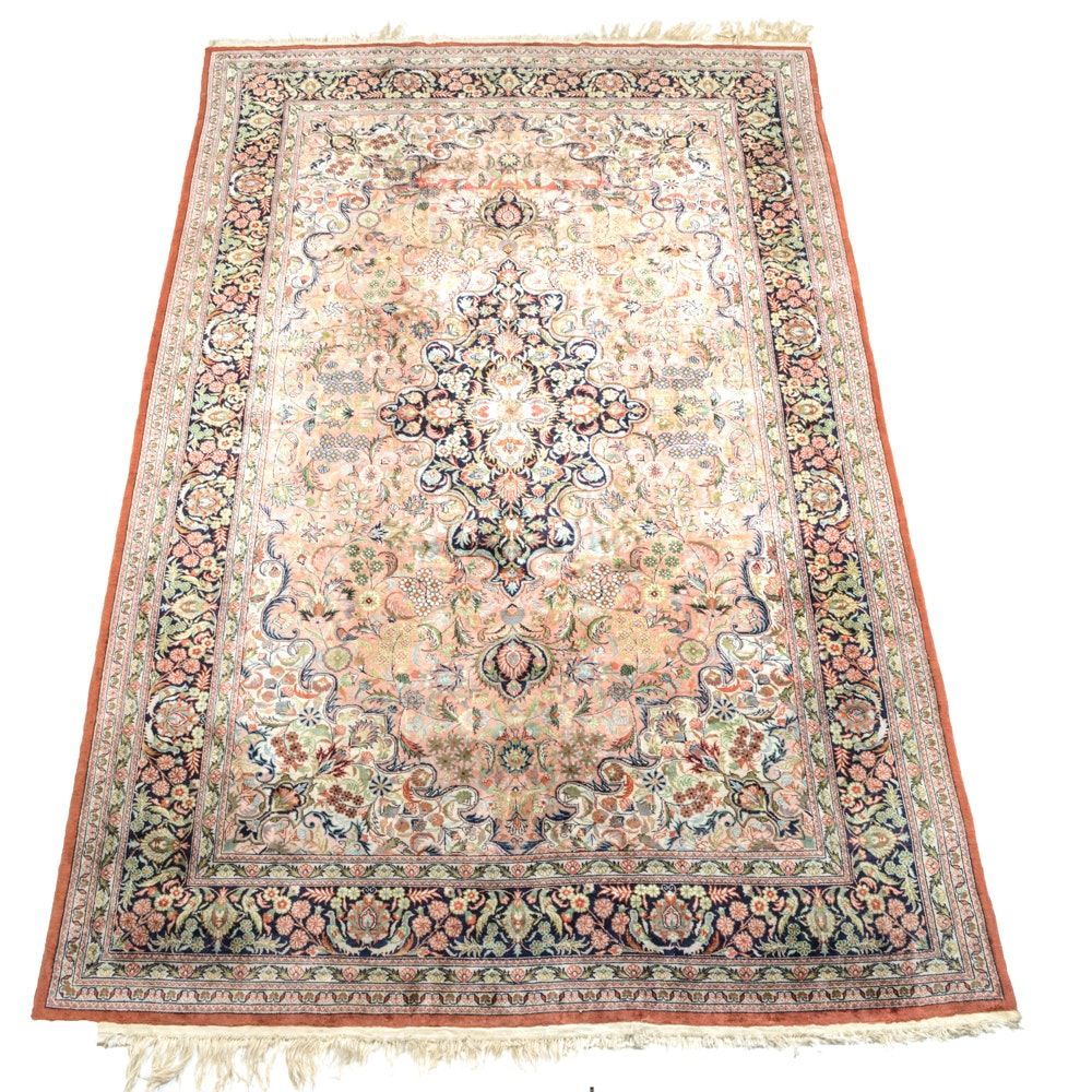 Hand Knotted Persian Kashan Silk Area Rug