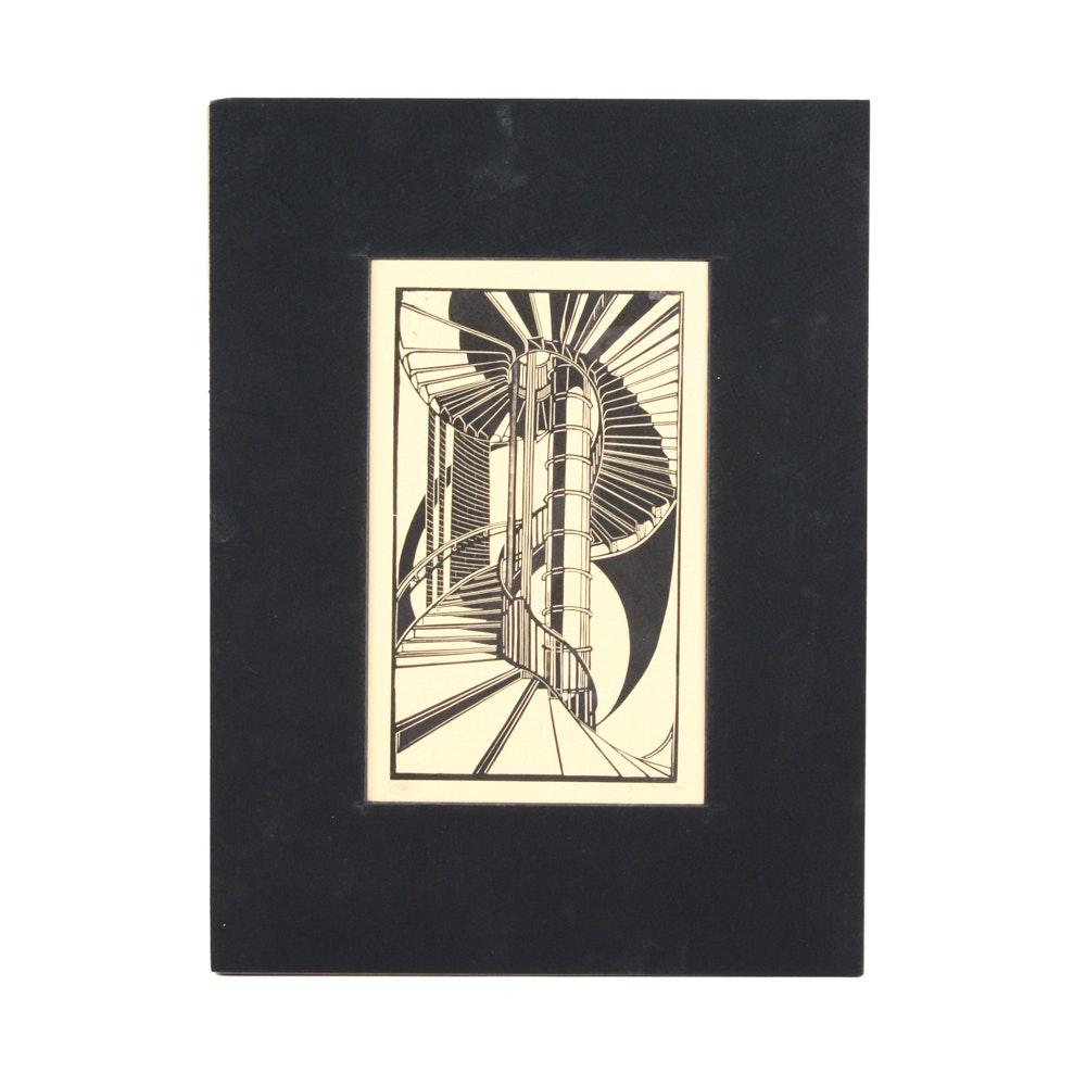 "Cyril Power Linocut Print ""Tube Staircase"""