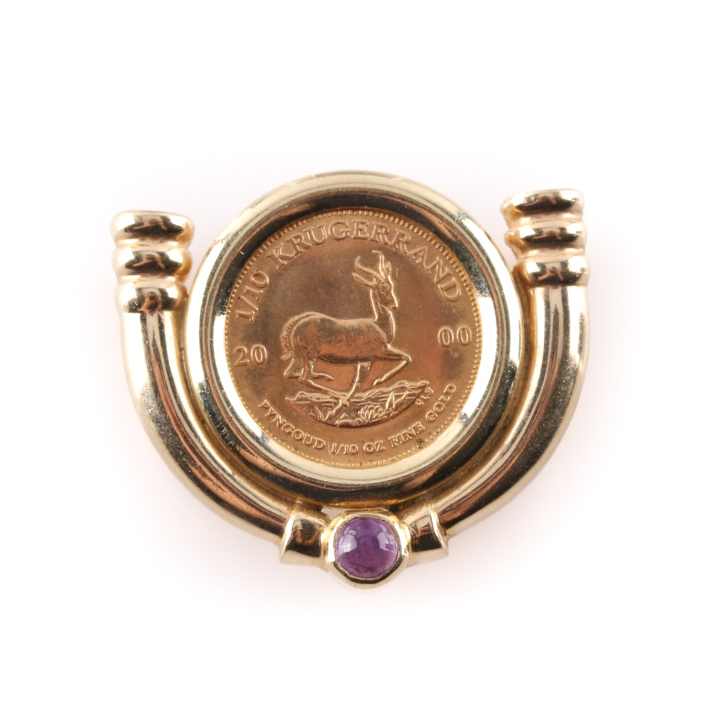 2000 Krugerrand 1/10 Oz Coin in 14K Yellow Gold Pendant