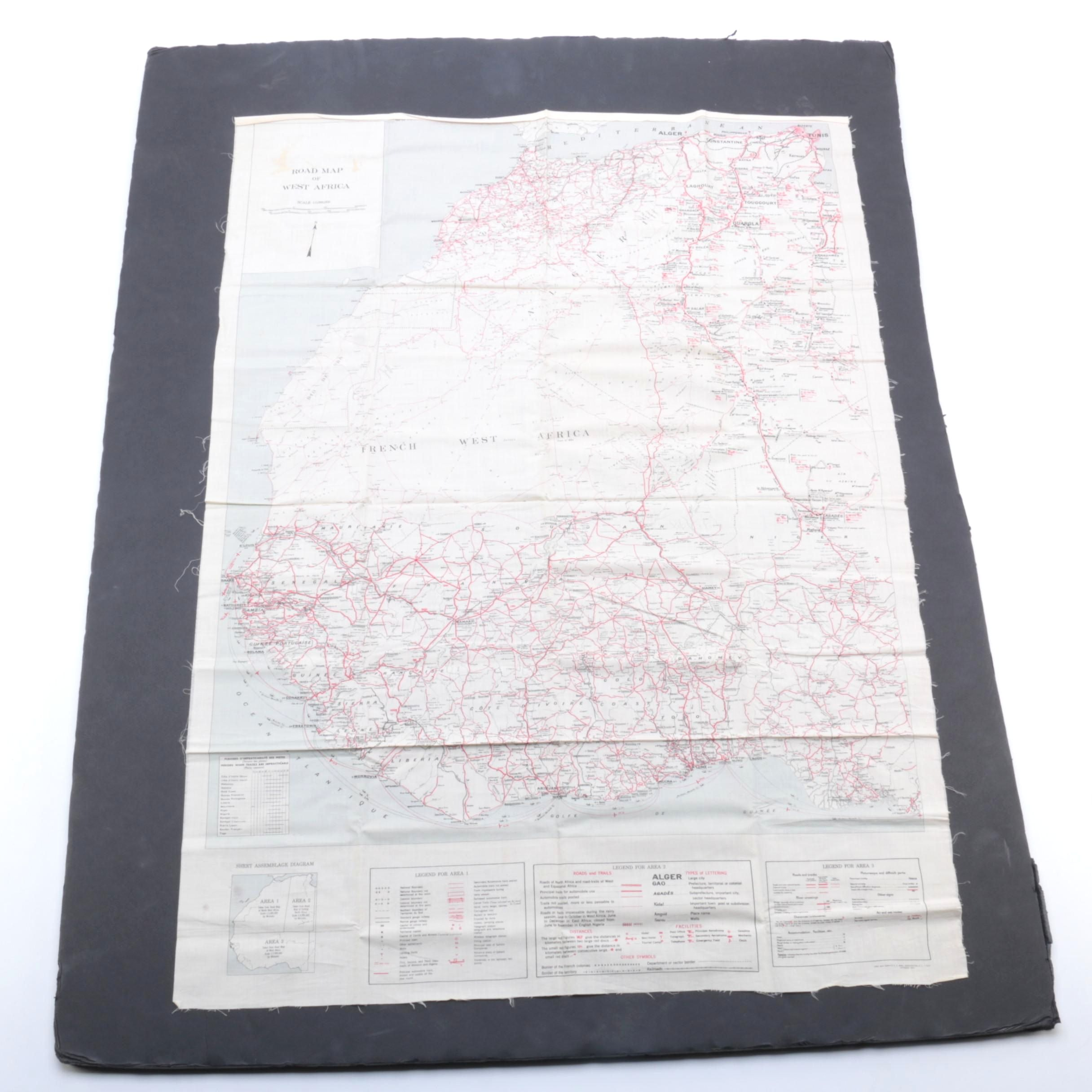 World War II US Army Air Force Map of West Africa