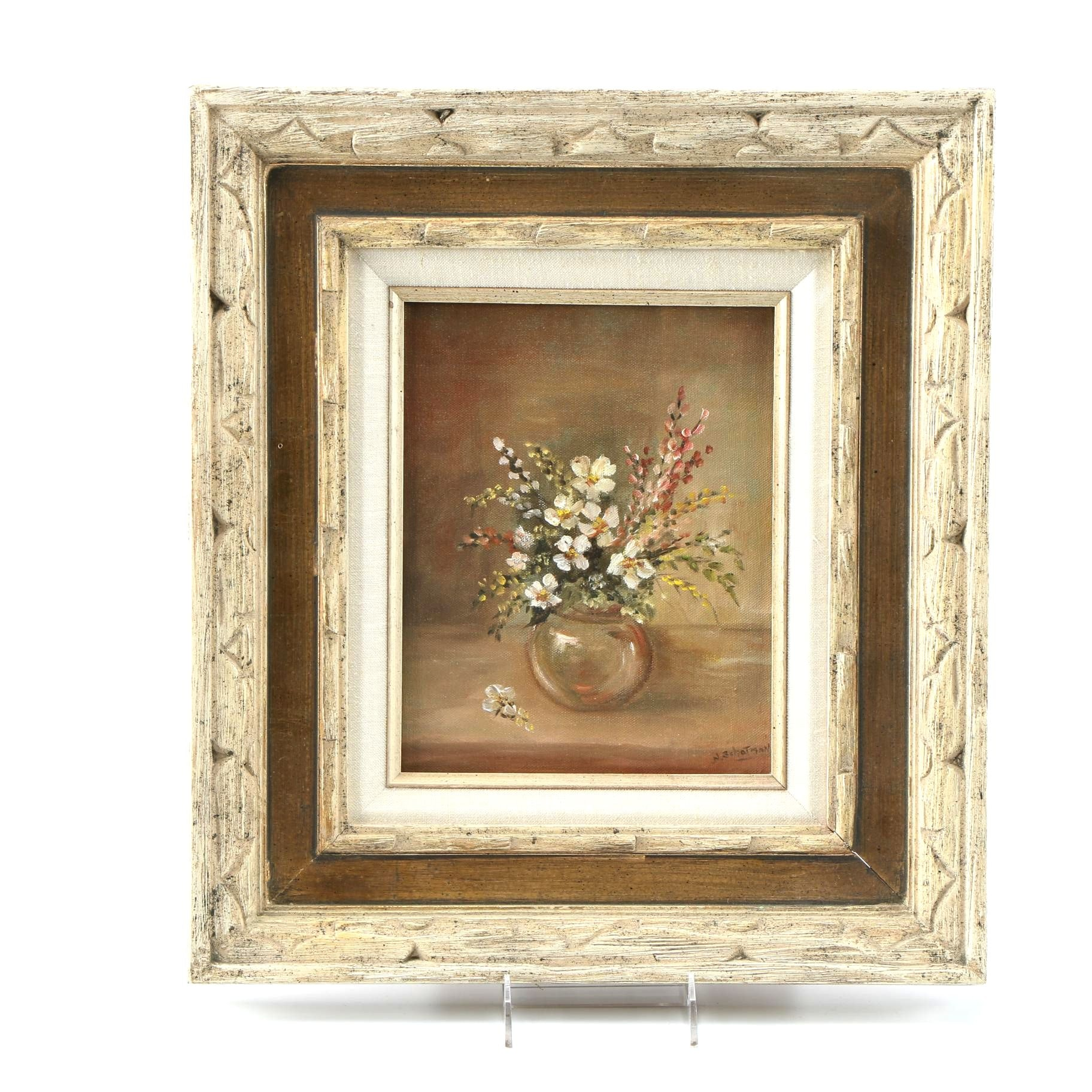N. Schotman Oil Painting on Canvas of Floral Still Life