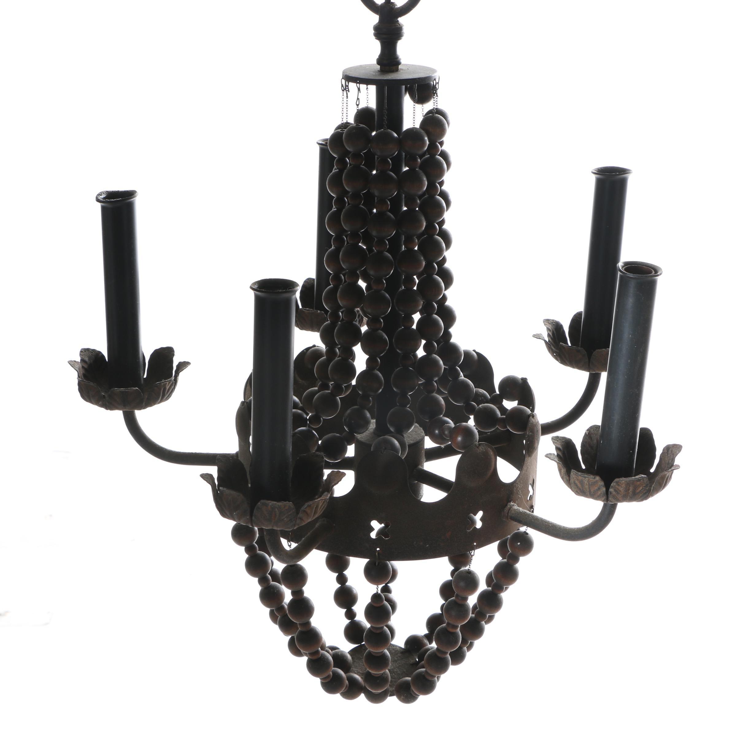Vintage Bronze Chandelier with Brown Wooden Beads