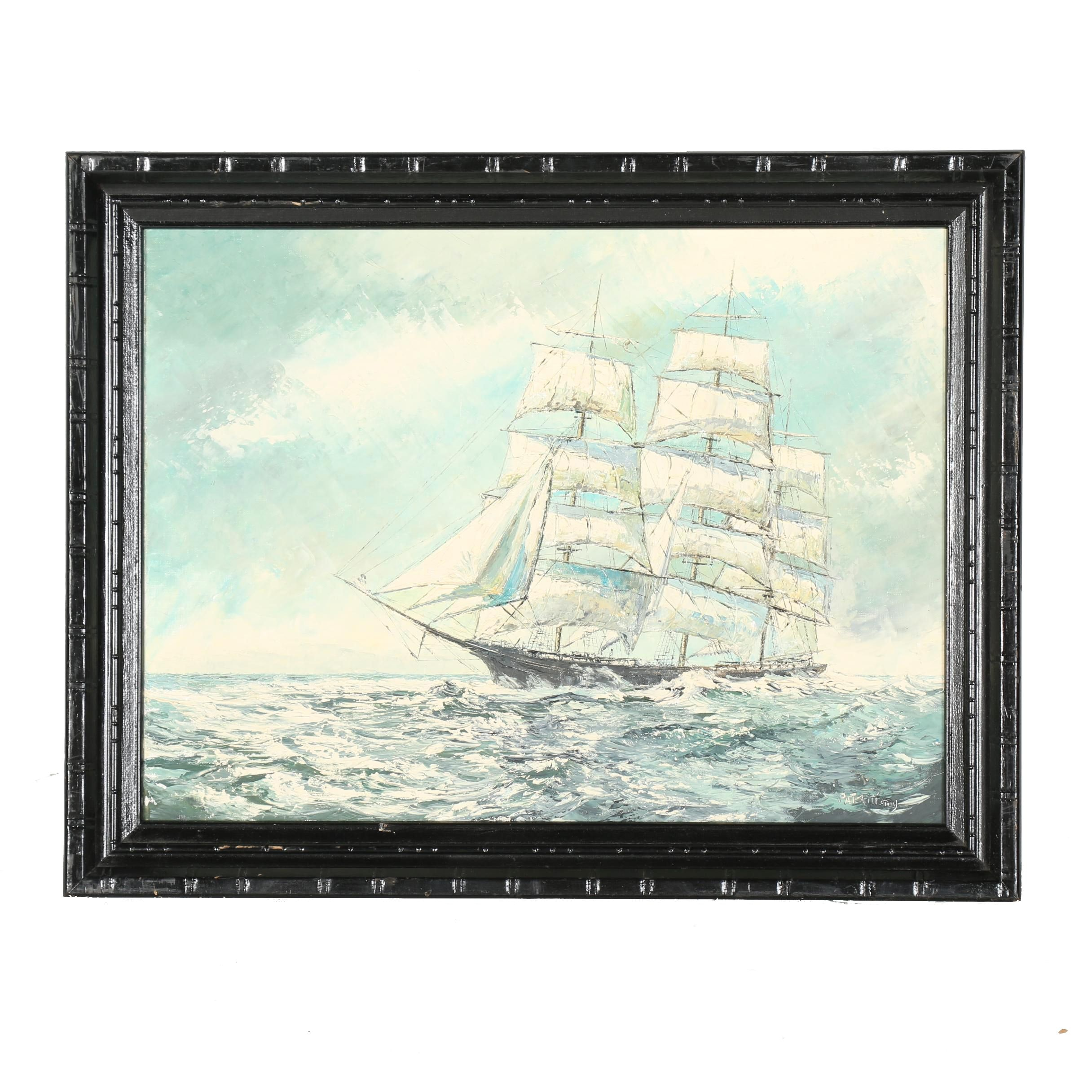 Oil Painting on Canvas Board of a Sailing Clipper