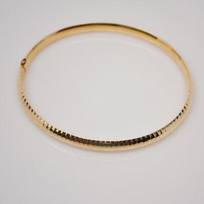 14K Yellow Gold Hollow Bangle Bracelet