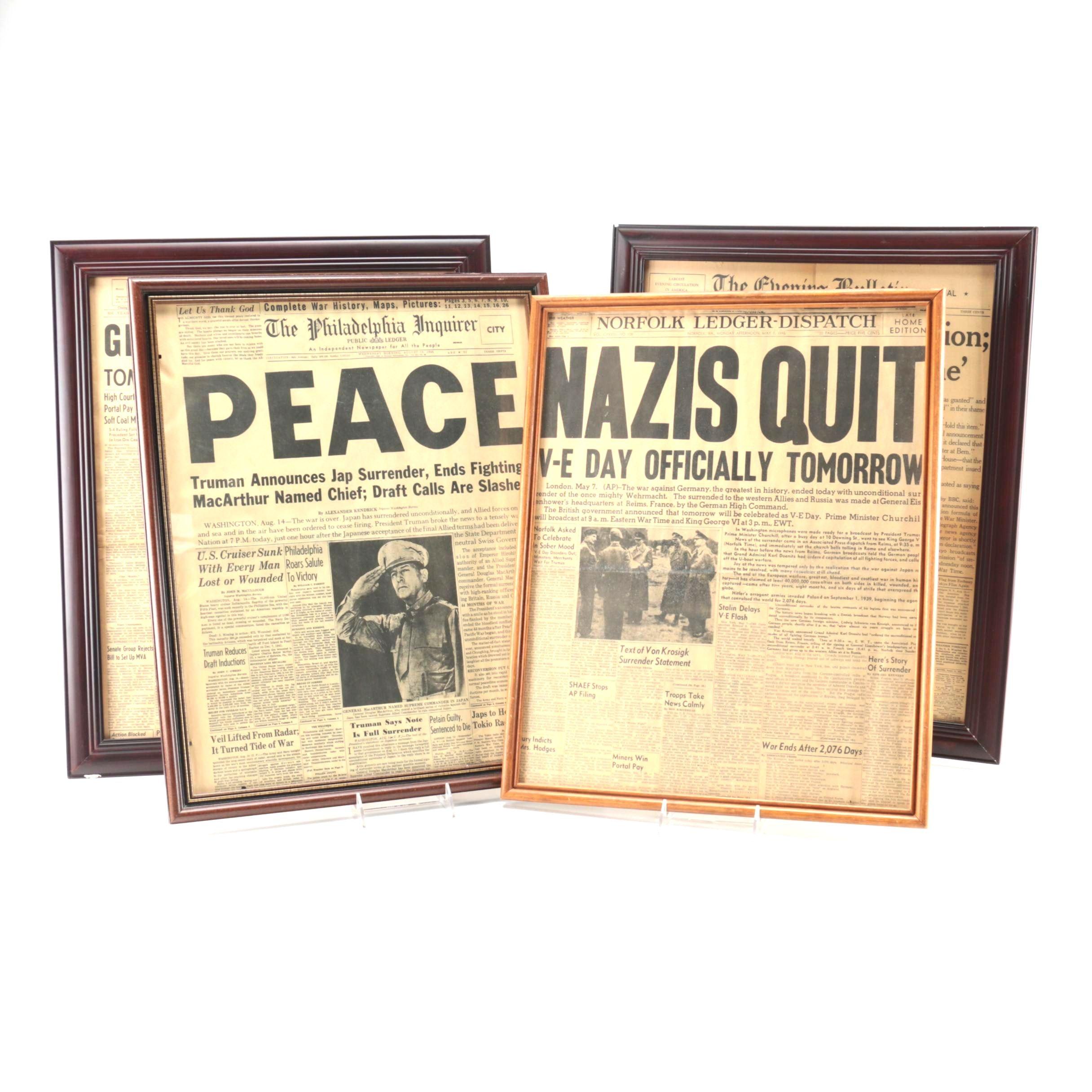Framed WWII Newspaper Headlines