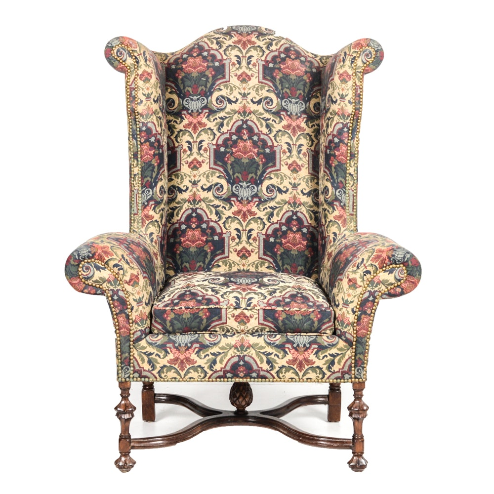 William And Mary Style Upholstered Wing Chair ...