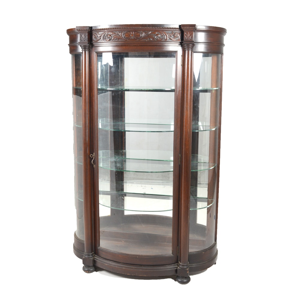 Antique Bowfront Curio Cabinet by R.J. Horner