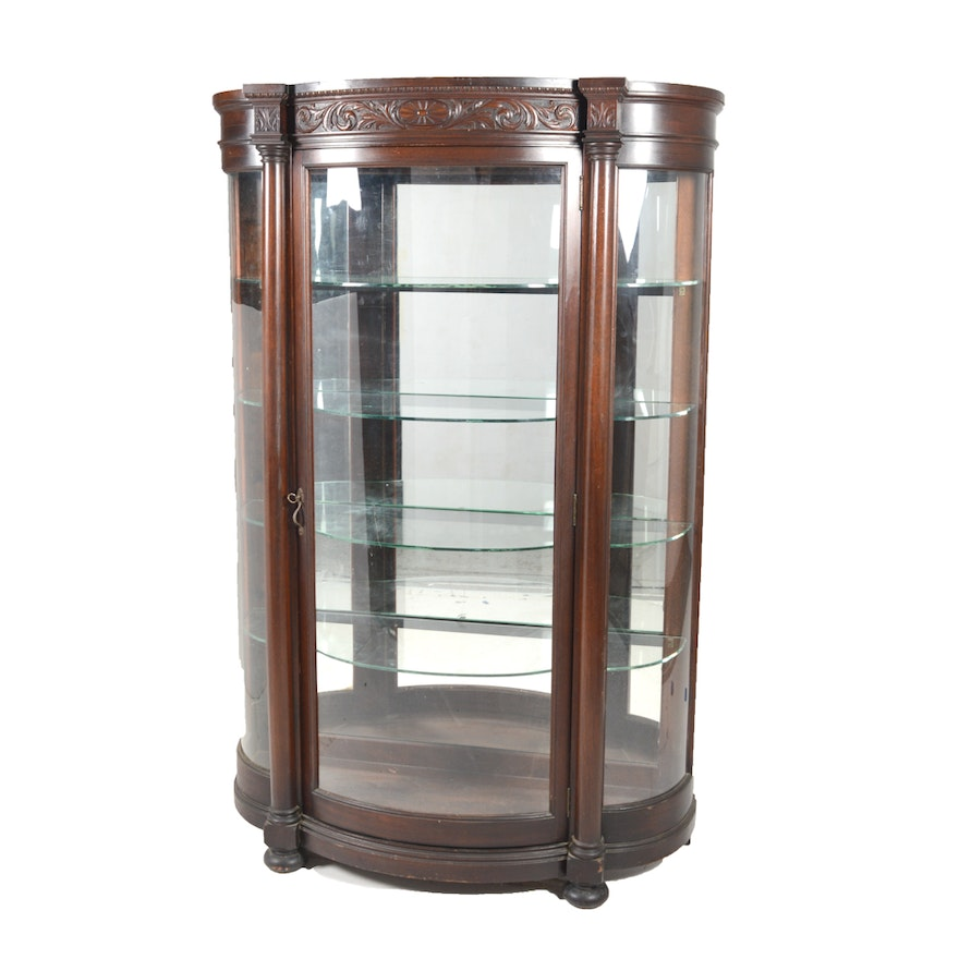 Antique Bowfront Curio Cabinet by R.J. Horner ... - Antique Bowfront Curio Cabinet By R.J. Horner : EBTH