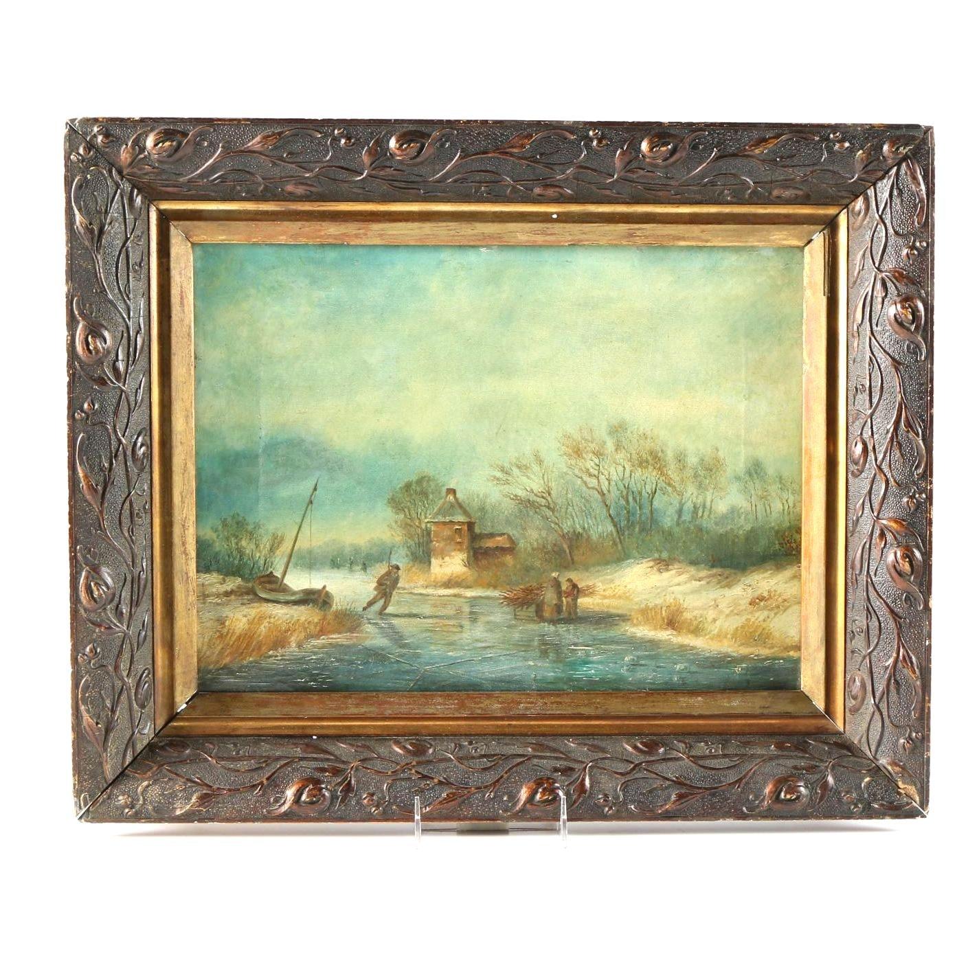 Original Oil on Canvas Winter Scene