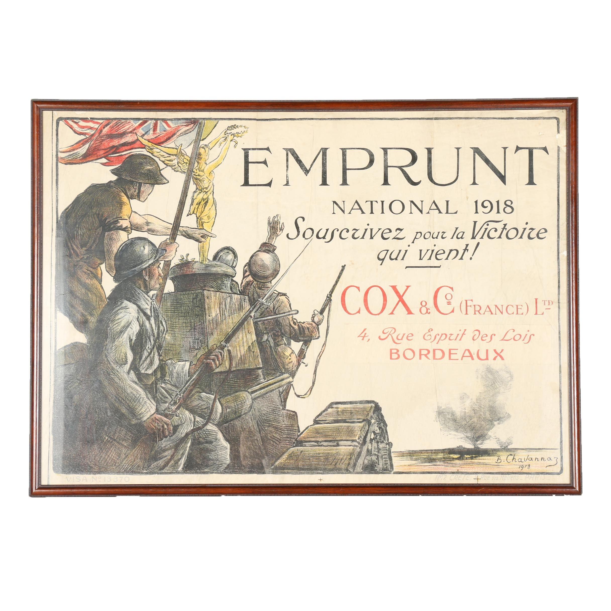 """Vintage World War I Era Lithograph Poster of """"Souscrivez pour la Victoire qui vient!"""""""
