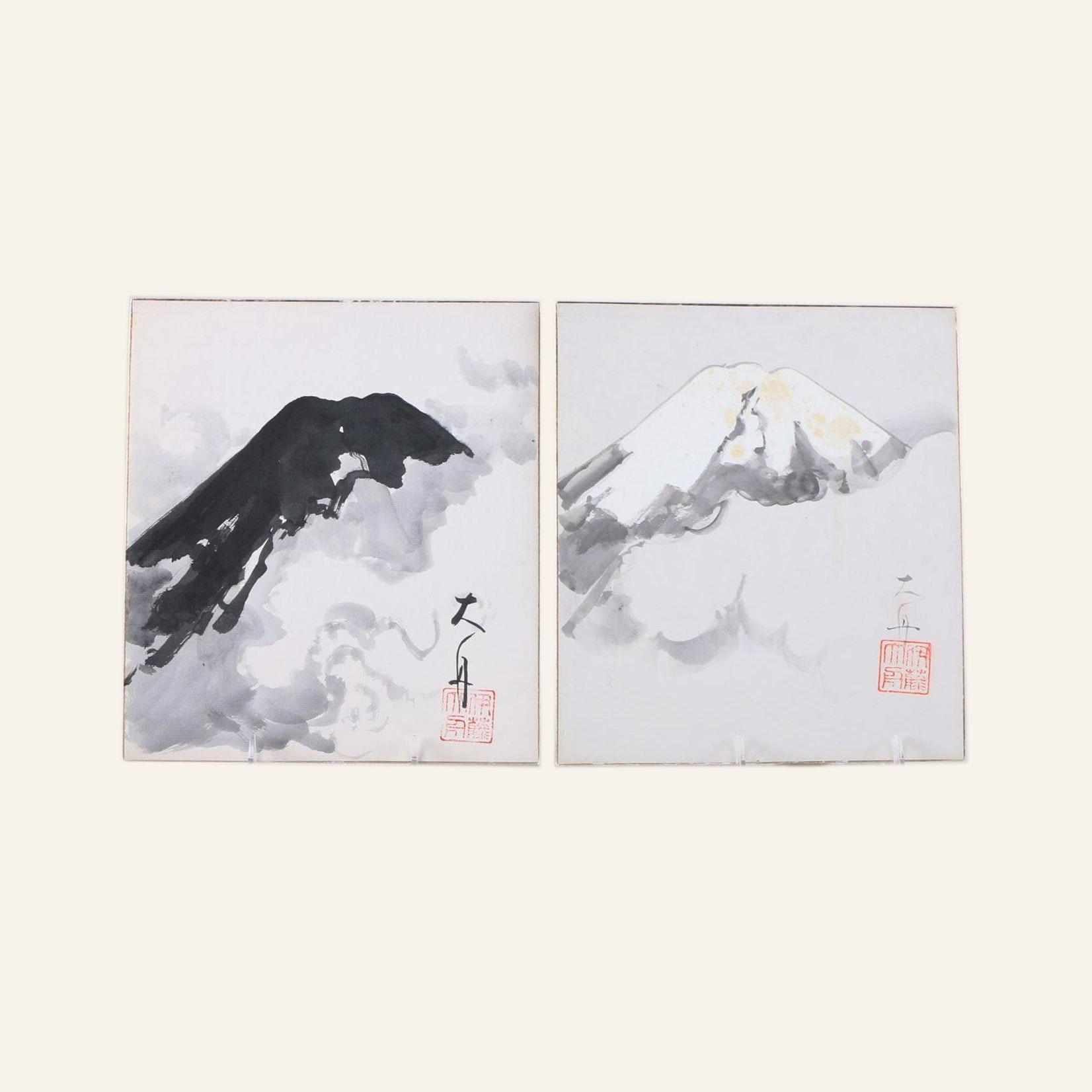 Japanese Watercolor Paintings of Mountain Tops
