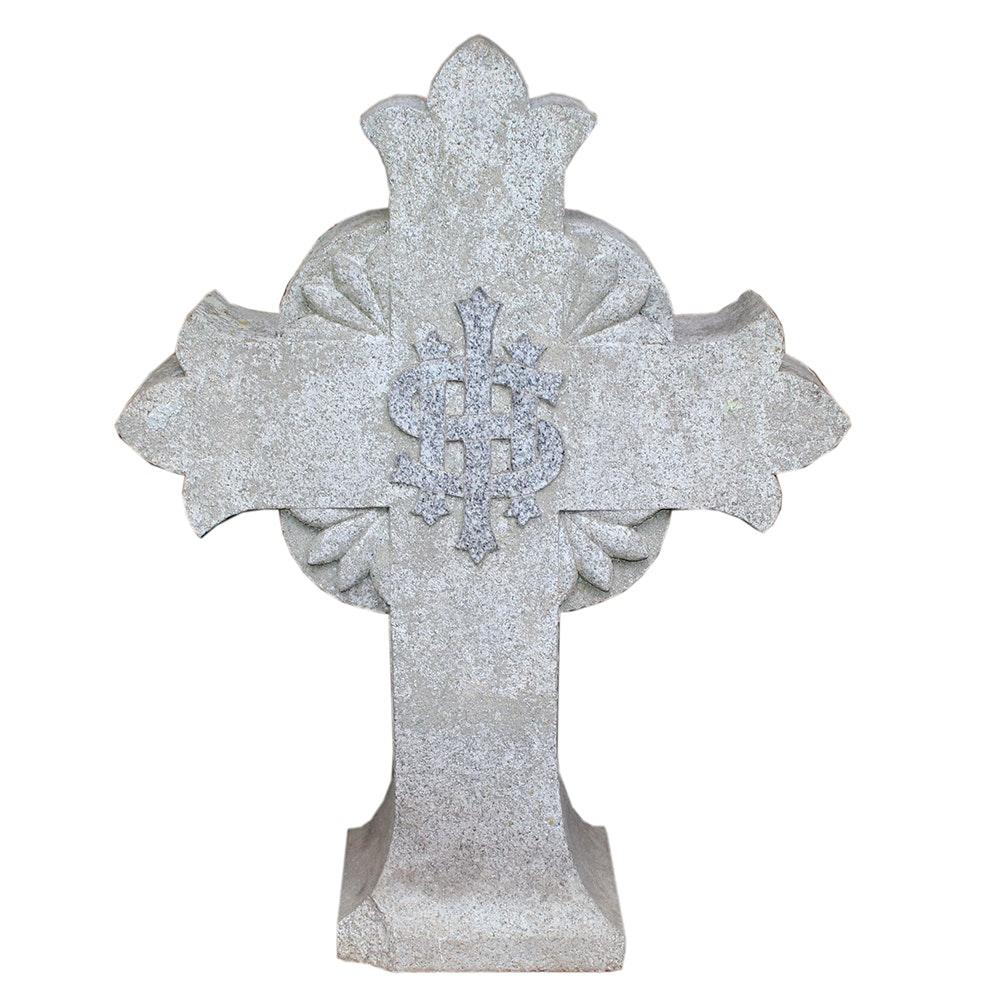 White Granite Carved Celtic Cross