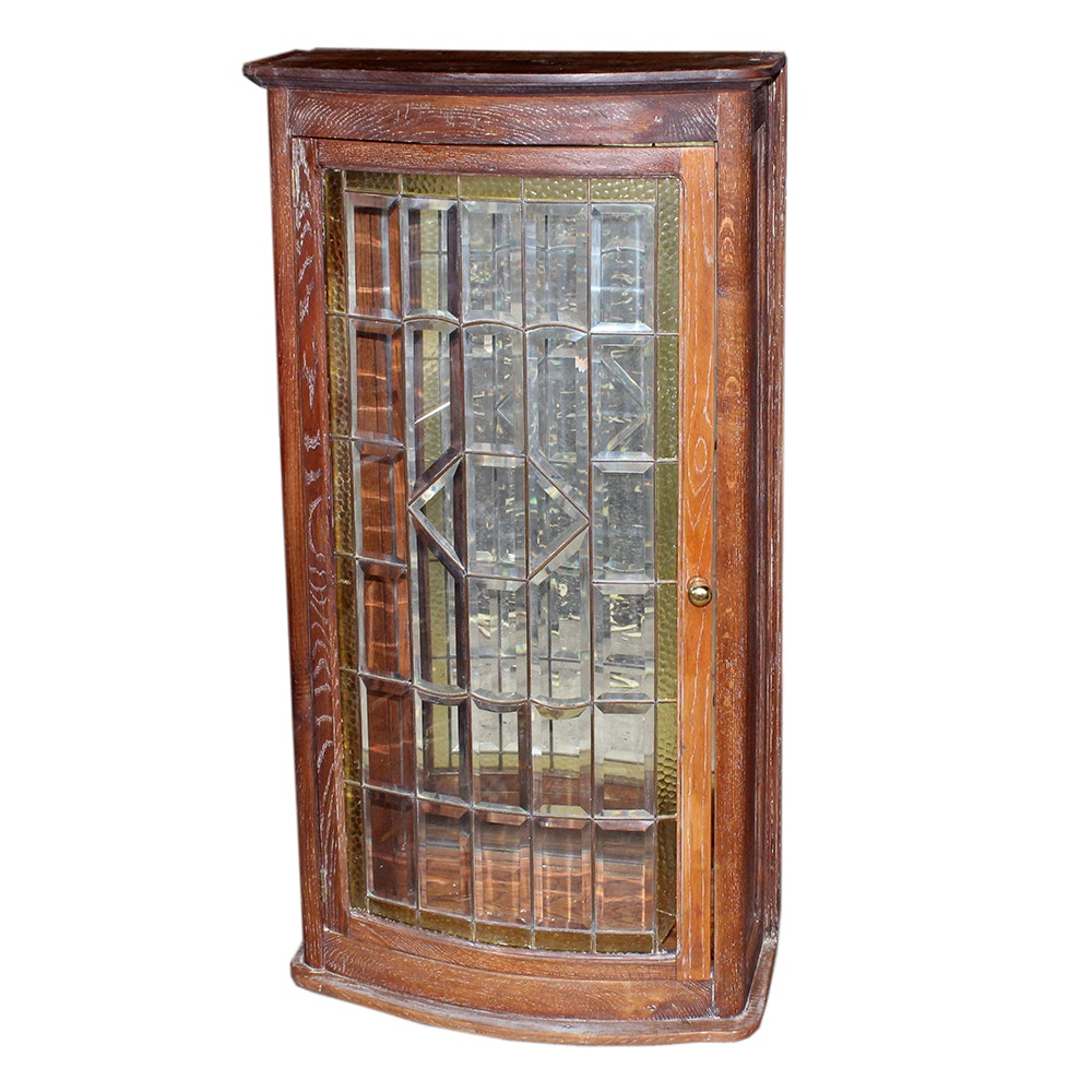 Vintage Bow Front Stained Glass Cabinet