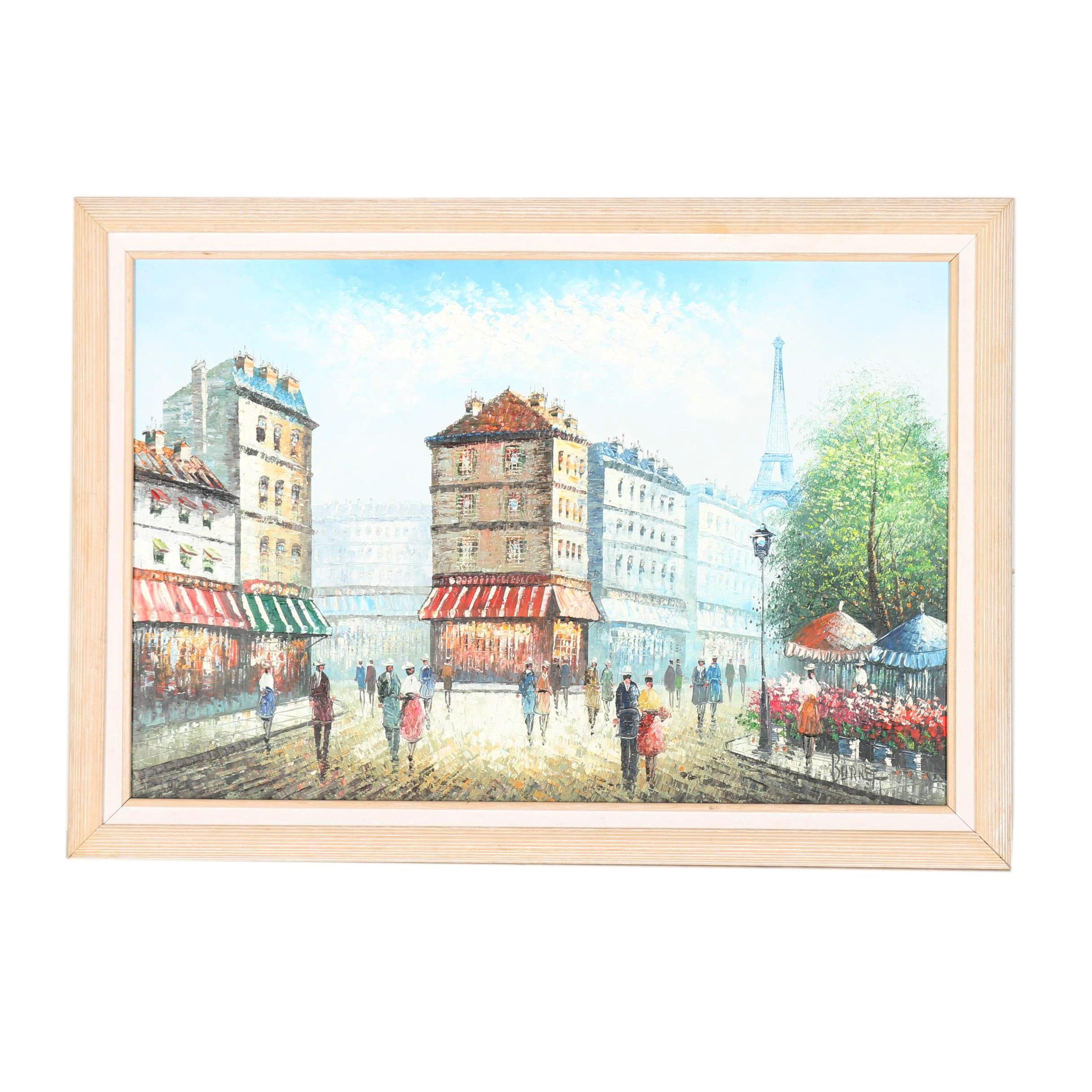 Burnett Oil Painting on Canvas of Parisian Street Scene