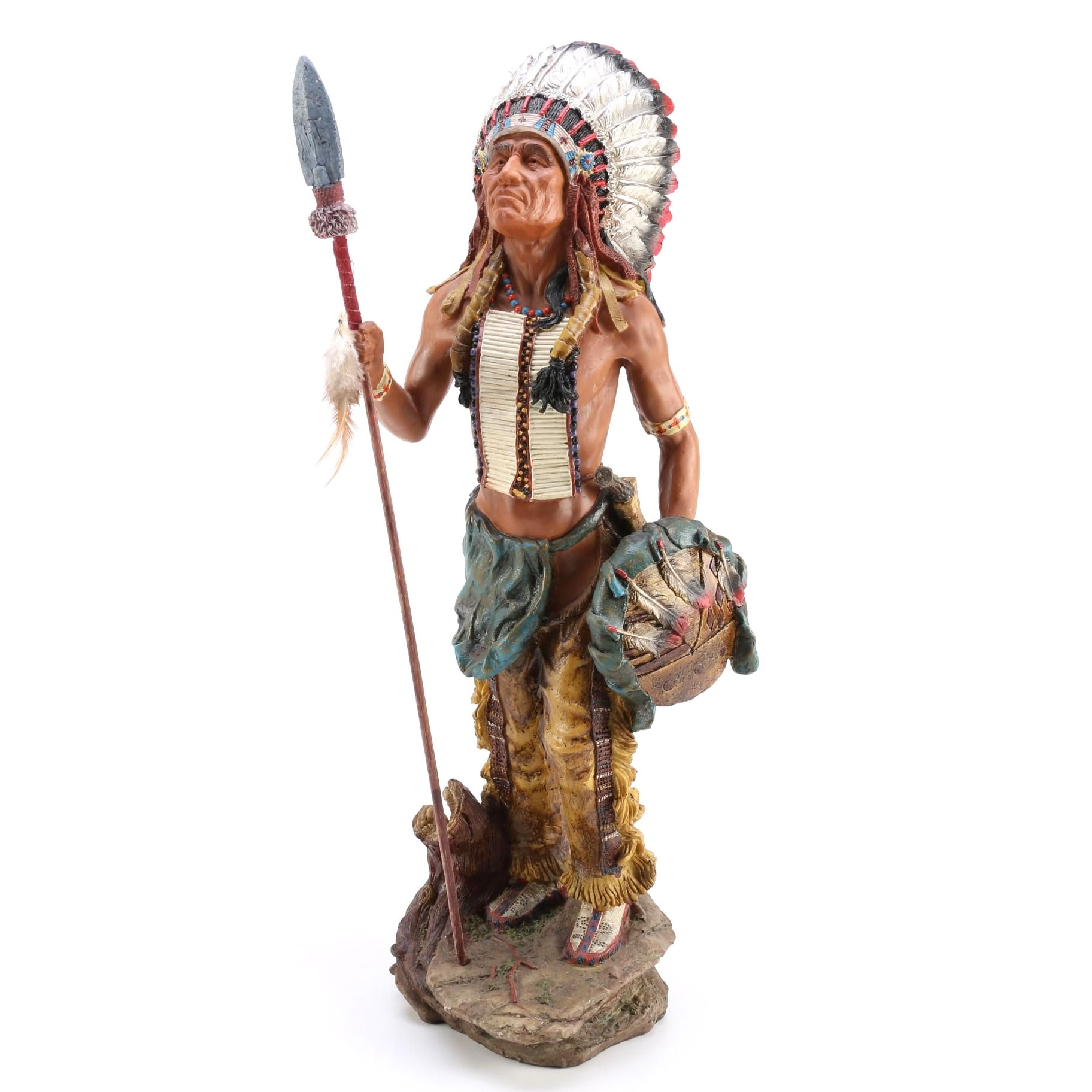 Resin Statue of Native American Style Figure