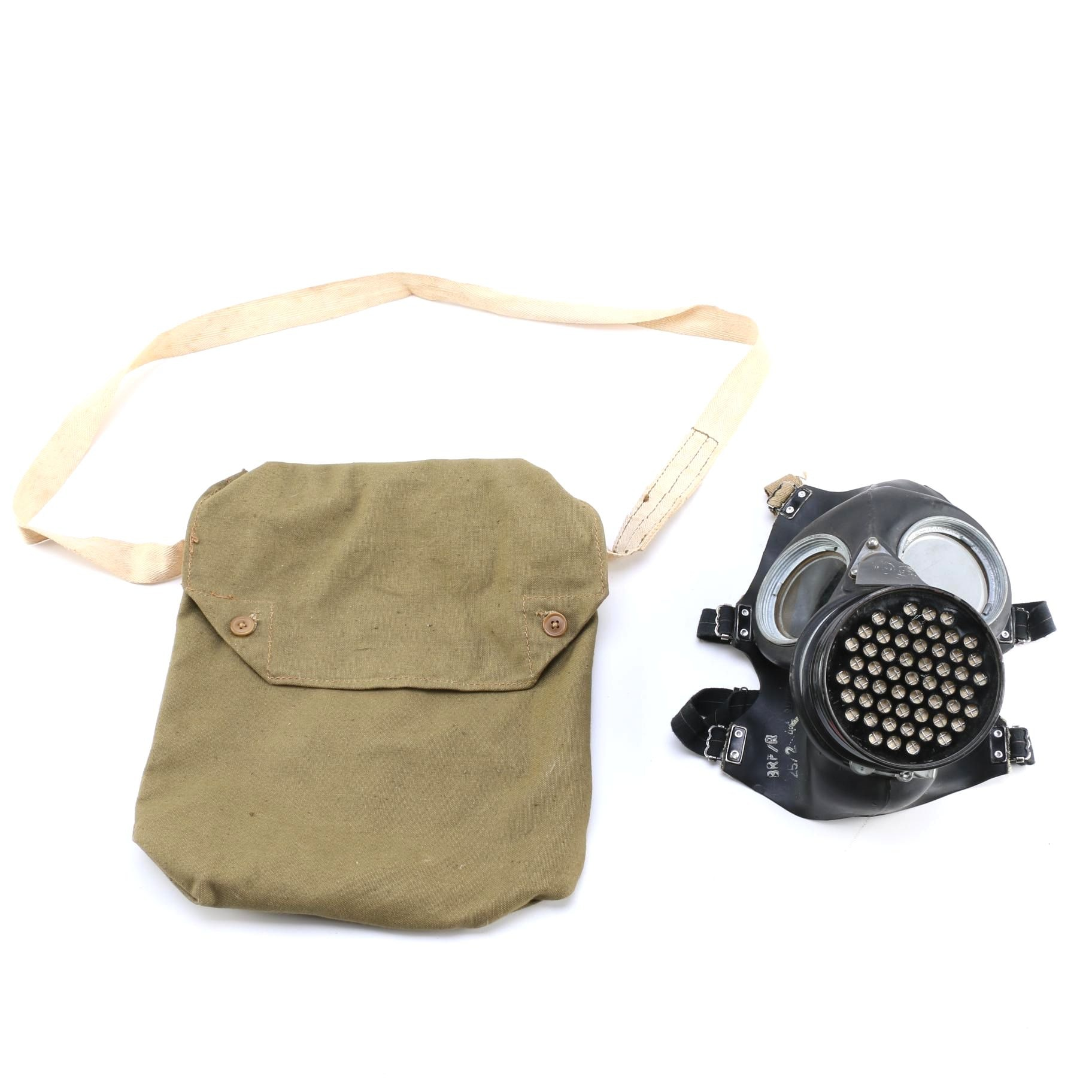 World War II Era Gas Mask with Bag