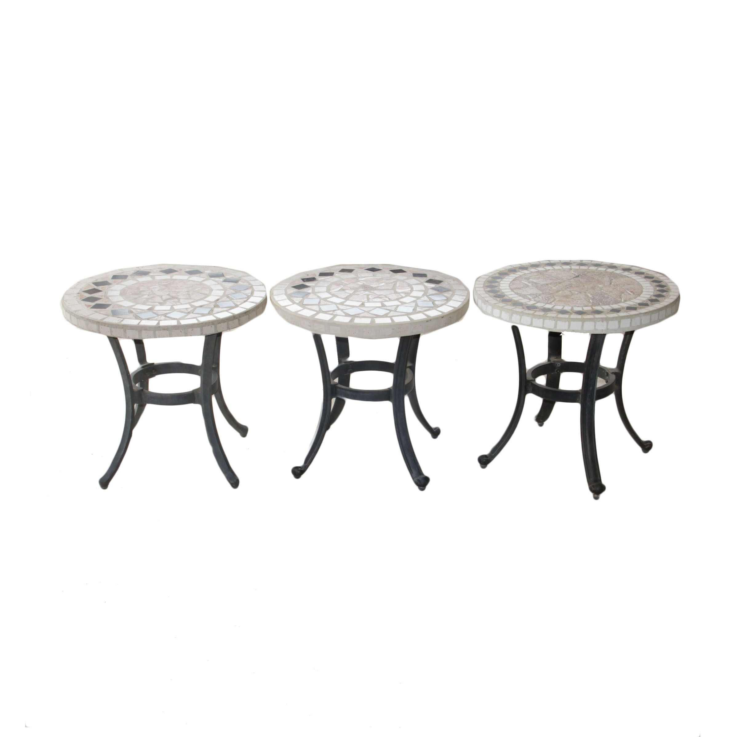 Trio of Mosaic Outdoor End Tables