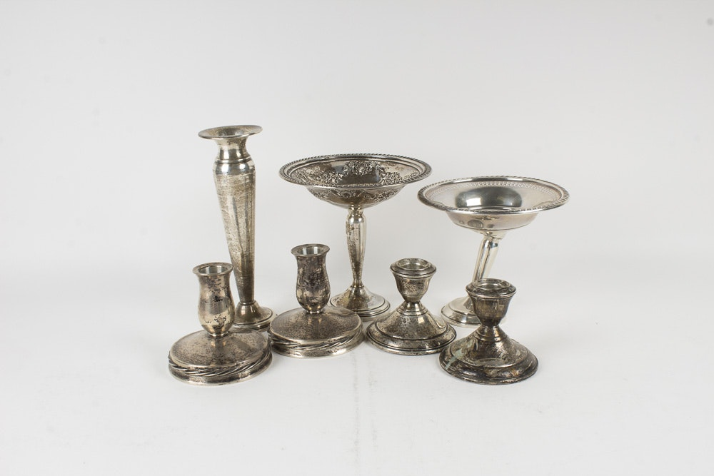 Weighted Sterling Silver Compotes and Candle Holders