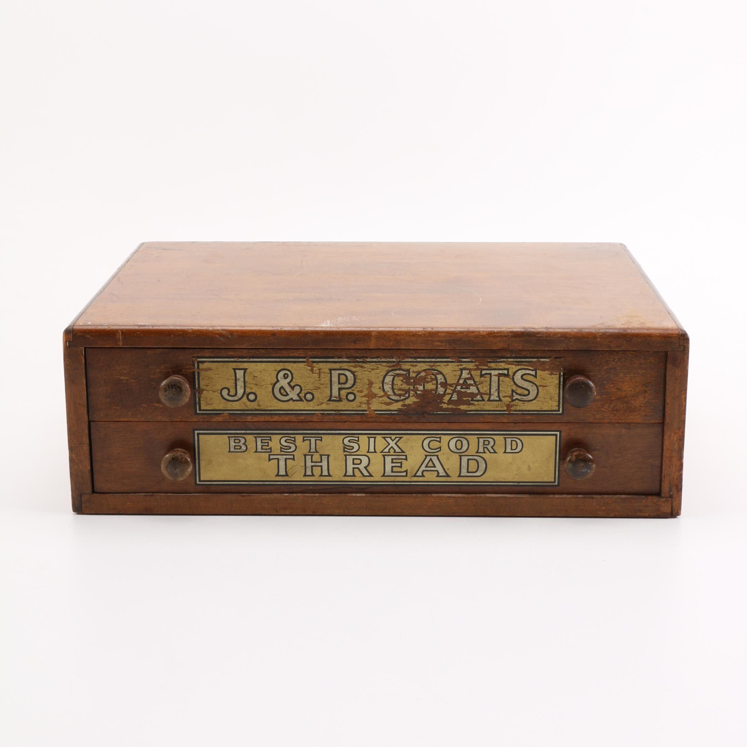 Vintage J. & P. Coats Wooden Thread Box