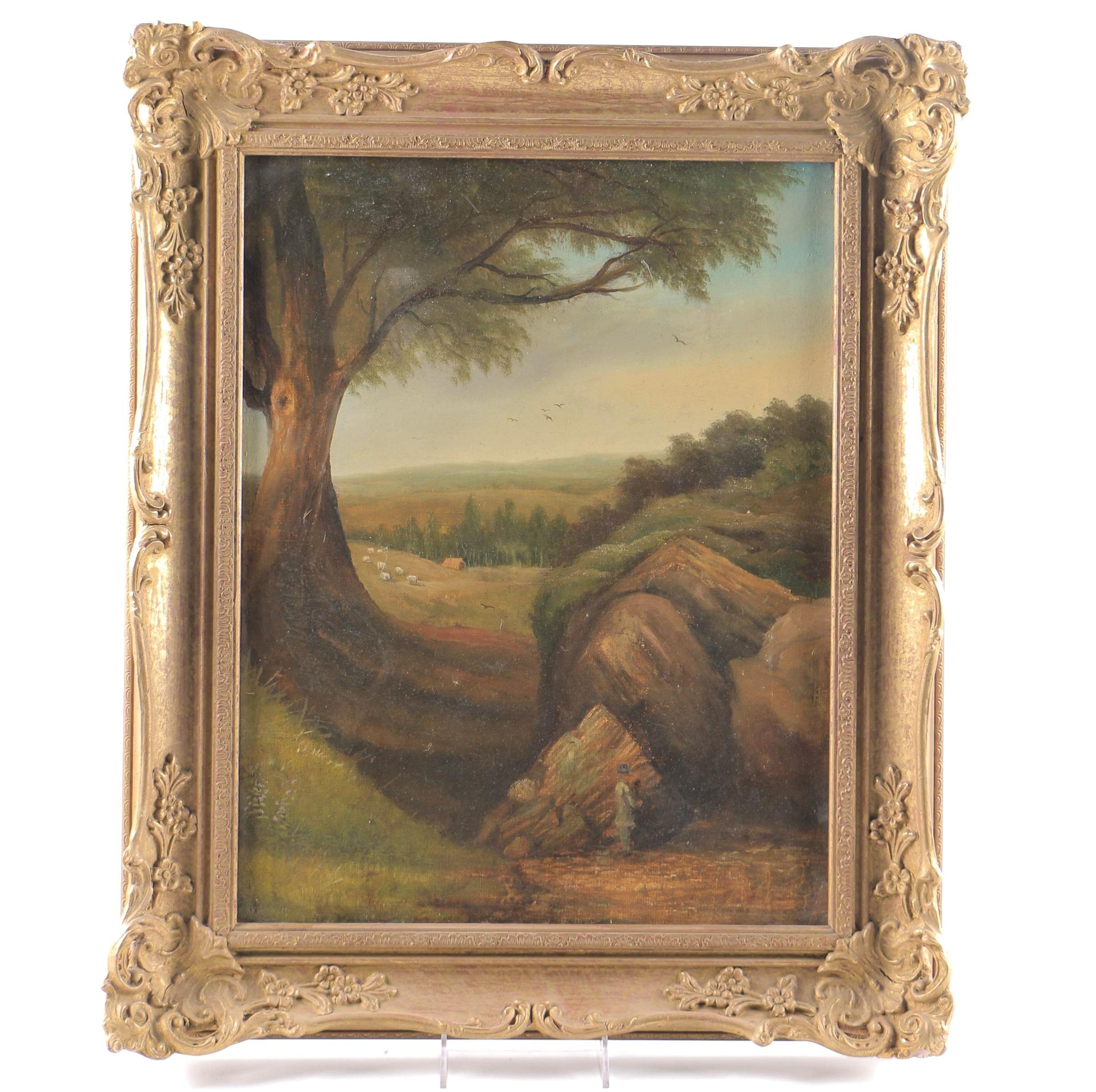 """Edward Thomas Jones Oil on Canvas """"Landscape"""""""