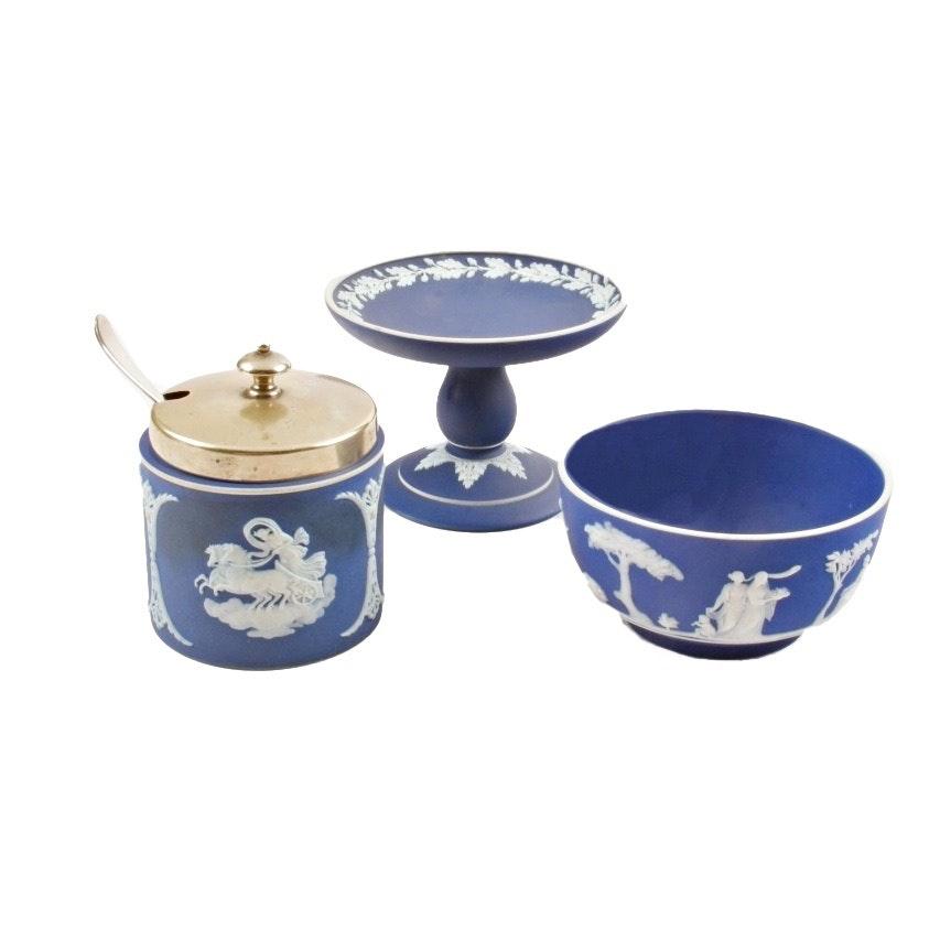Three Wedgwood Cobalt Jasperware Pieces