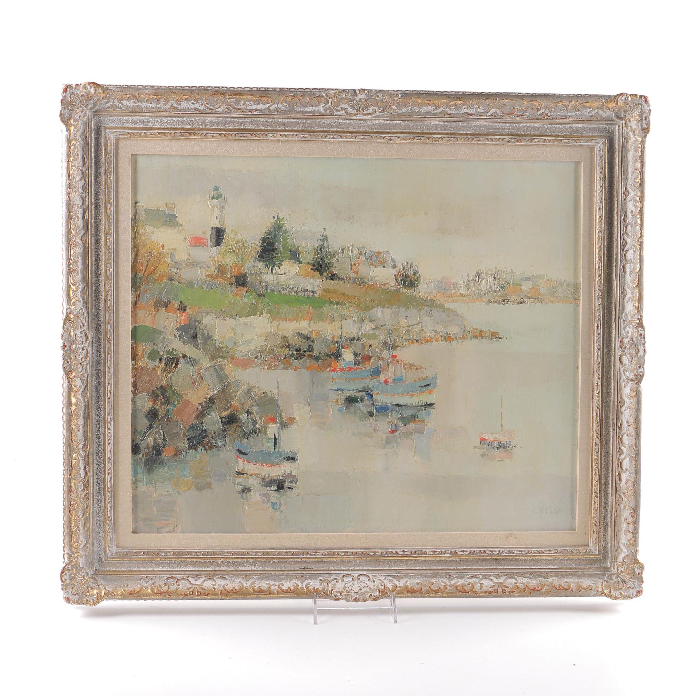 "Louis Rosan Oil Painting on Canvas ""Dovelan en Bretagne"""