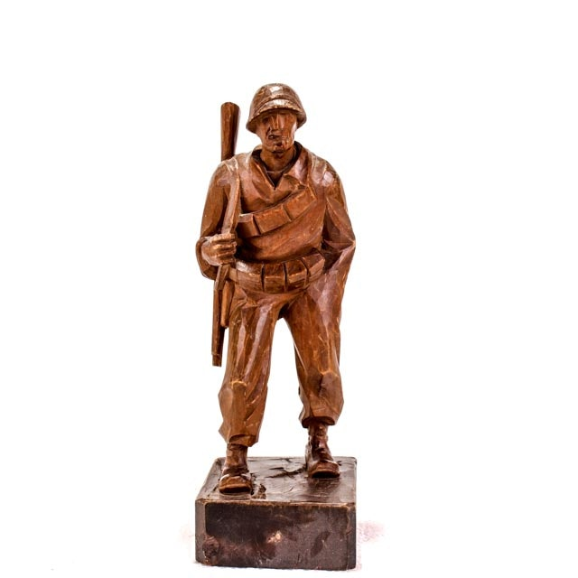 WWII Trench Art Carved Soldier Sculpture