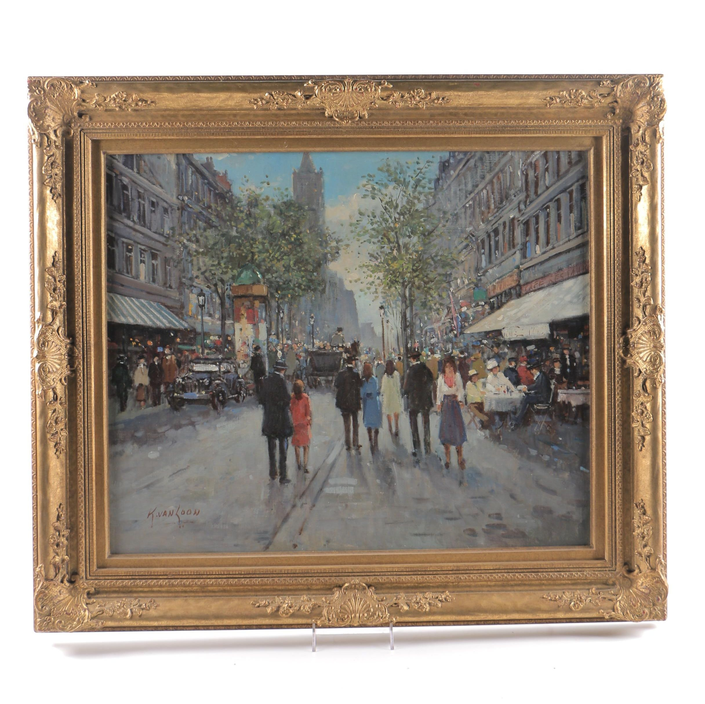 "Kees Van Loon Oil Painting on Canvas ""Street Scene"""
