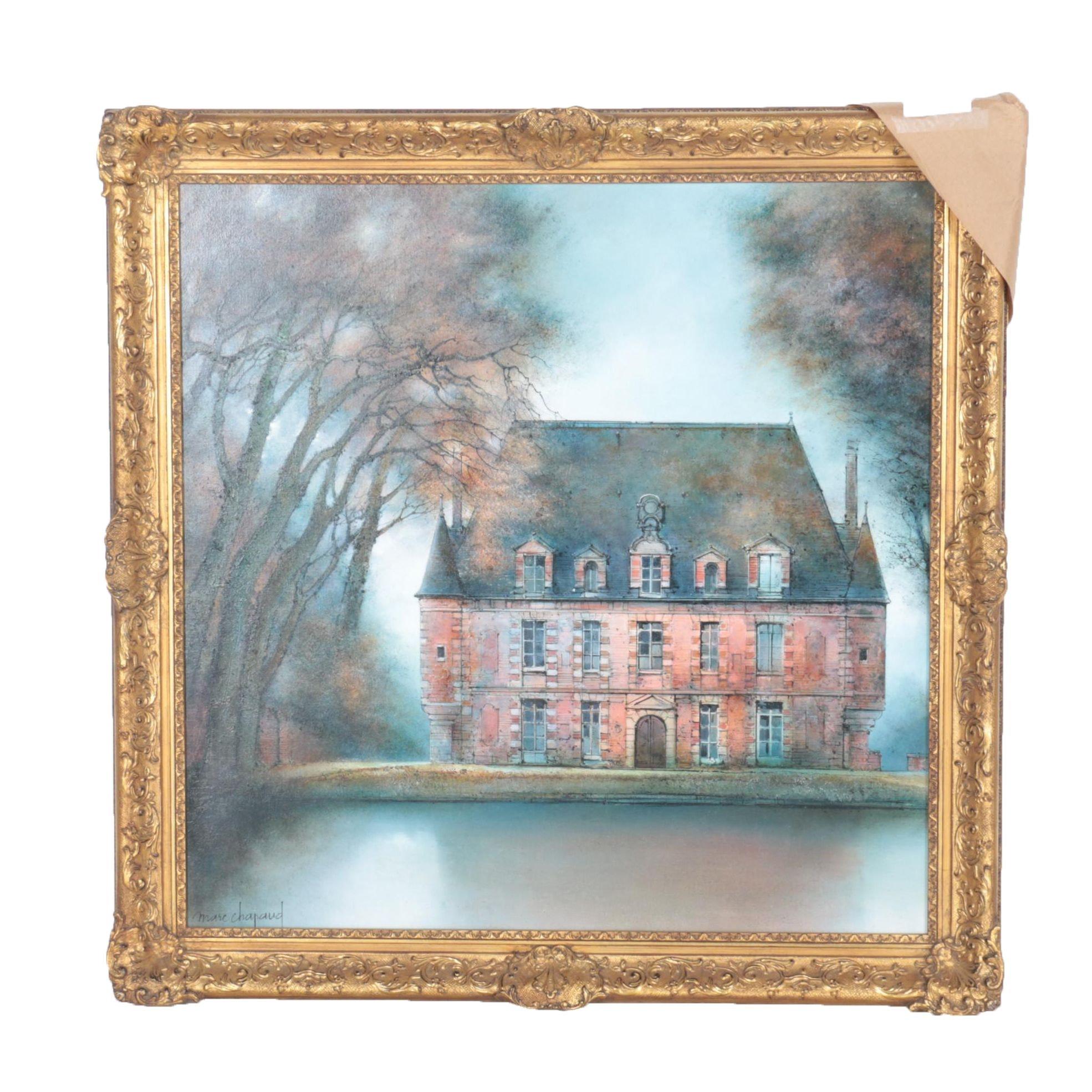 """Marc Chapaud Oil Painting on Canvas """"Manoir en Normandie"""""""