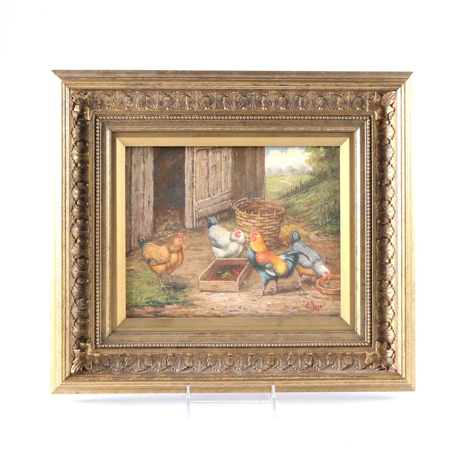 """C. Shayer Oil Painting on Wood Panel """"Barnyard with Chickens"""""""