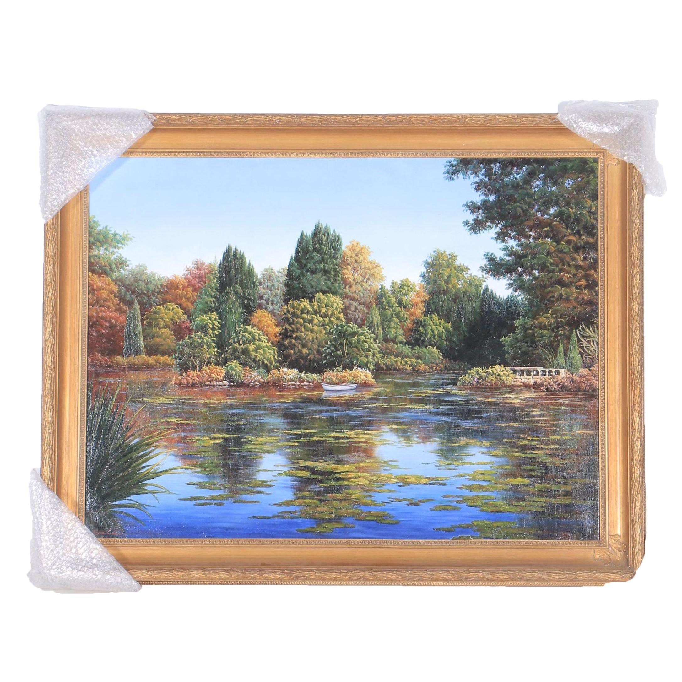 "Joyce Lee Oil Painting on Canvas ""Lake"""