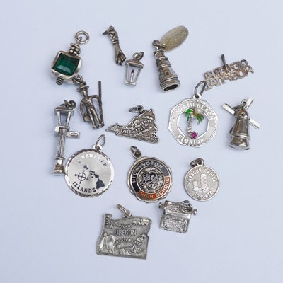 Fifteen Sterling Silver Charms
