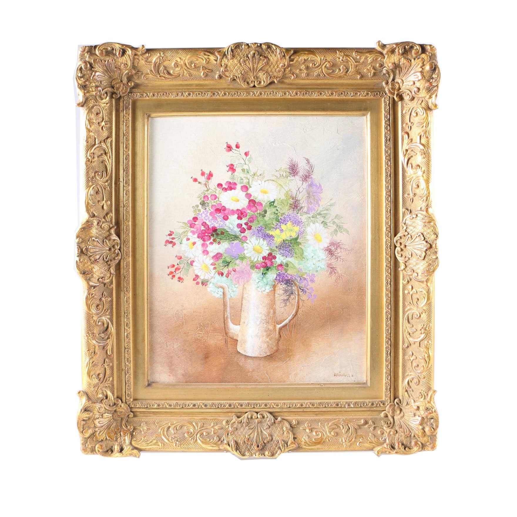 Paillard Oil Painting on Canvas of Floral Arrangement