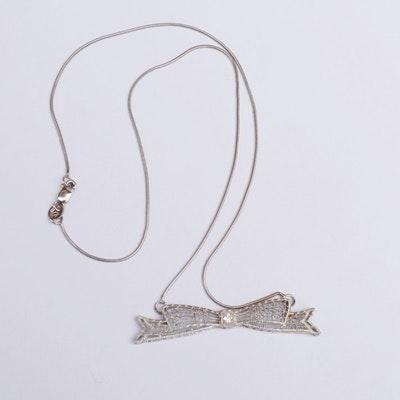 Edwardian Style 14K White Gold Diamond Filigree Bow Pendant Necklace