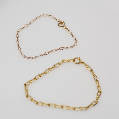 10K Rose Gold and 14K Yellow Gold Charm Bracelets