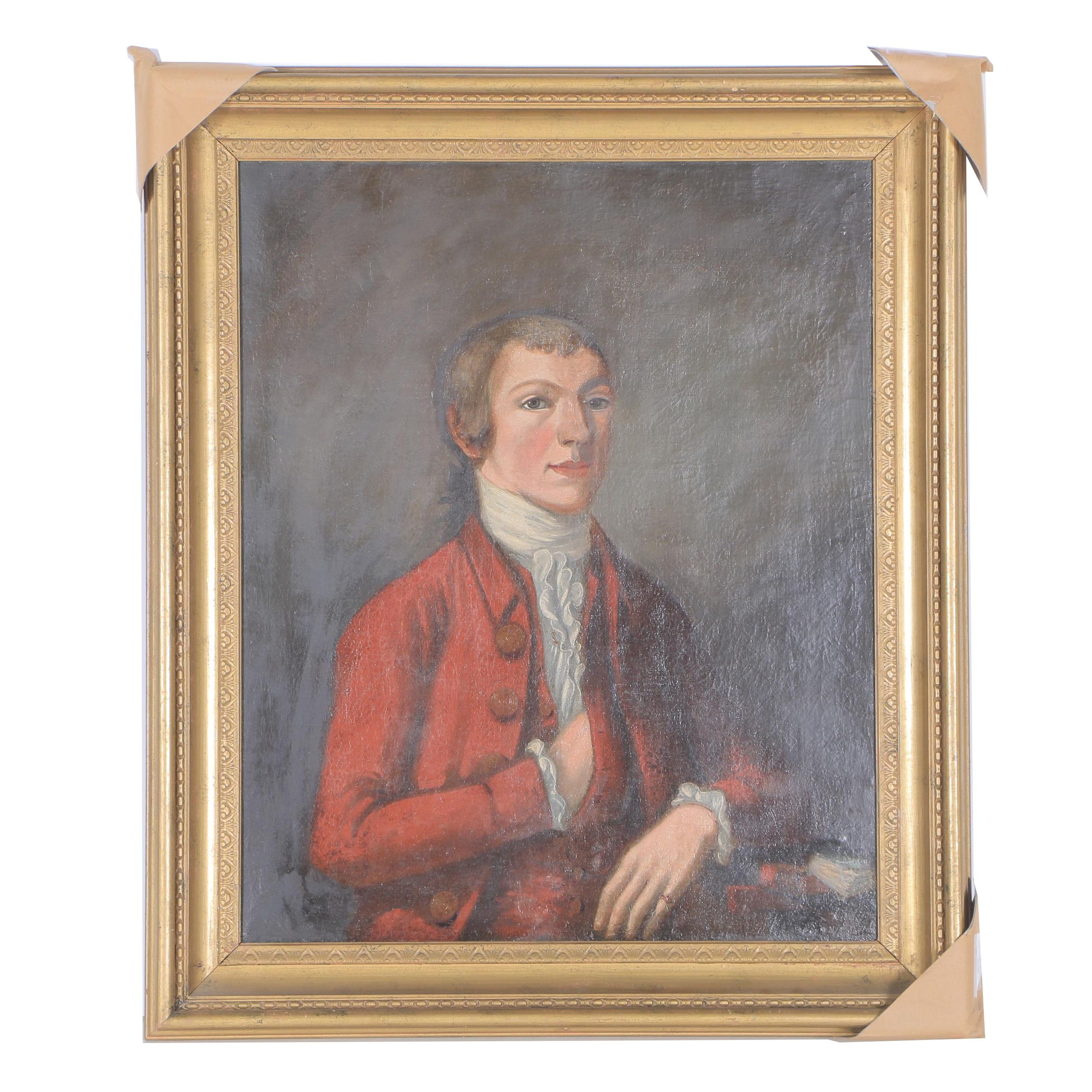 Late 18th Century English Oil on Canvas Portrait of a Young Man