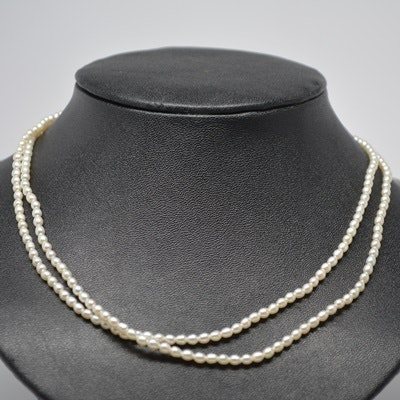 Double Strand Freshwater Pearl Necklace With Gold Plated Clasp