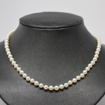 Cultured Pearl Necklace With 10K White Gold Clasp