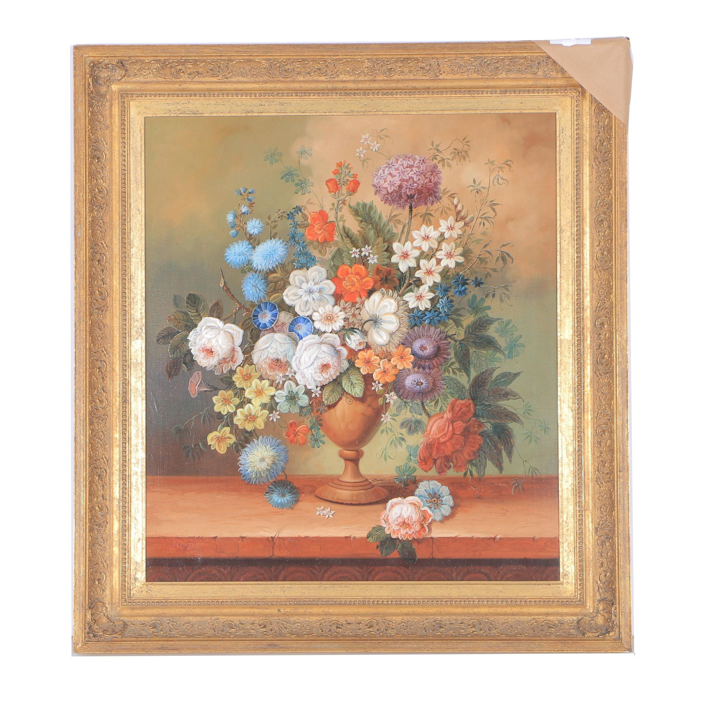 "Jeannine Albert Oil on Canvas ""Floral"""
