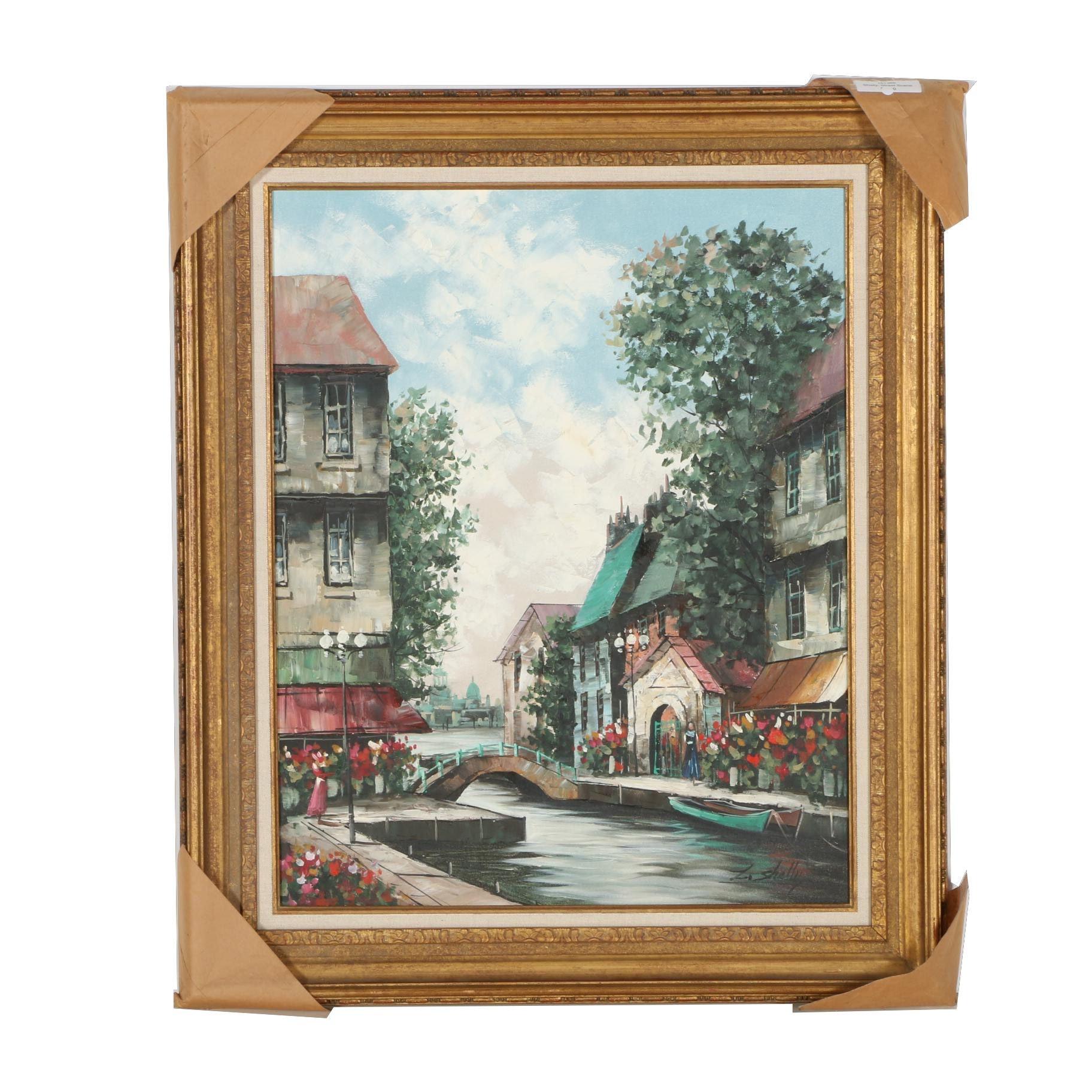 """Z. Shelly Oil on Canvas """"Street Scene"""""""