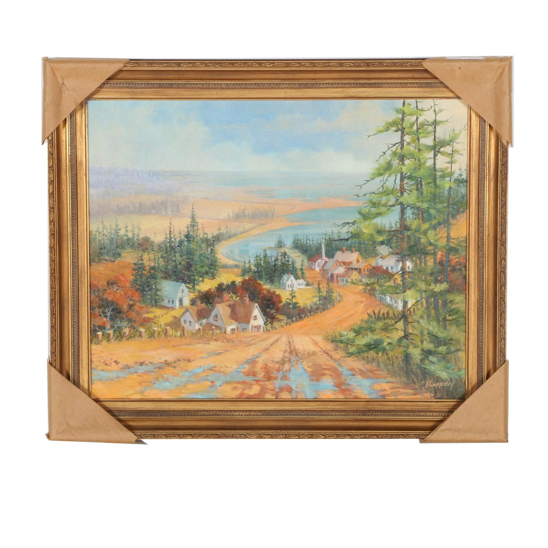 "Richard Bagguley Oil on Canvas ""New England Landscape"""
