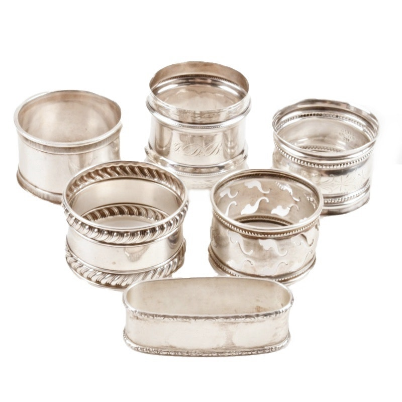 Collection of Seven Vintage Sterling Silver Napkin Rings