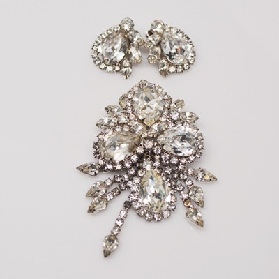Vintage Rhinestone Brooch and Clip-On Earring Set