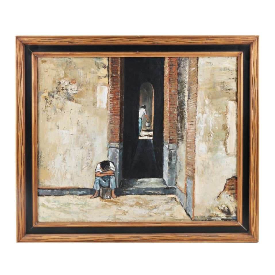 Jack Fang Oil Painting of an Urban Doorway