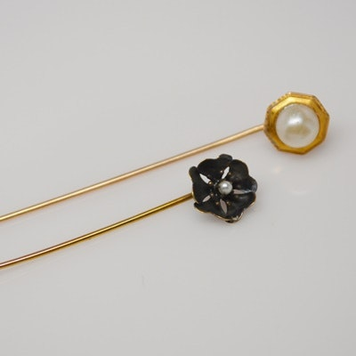 10K Yellow Gold Cultured Pearl Pin and Art Nouveau 14K Yellow Gold Poppy Pin