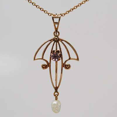10K Rose Gold Freshwater Pearl and Faux Amethyst Lavalier Necklace