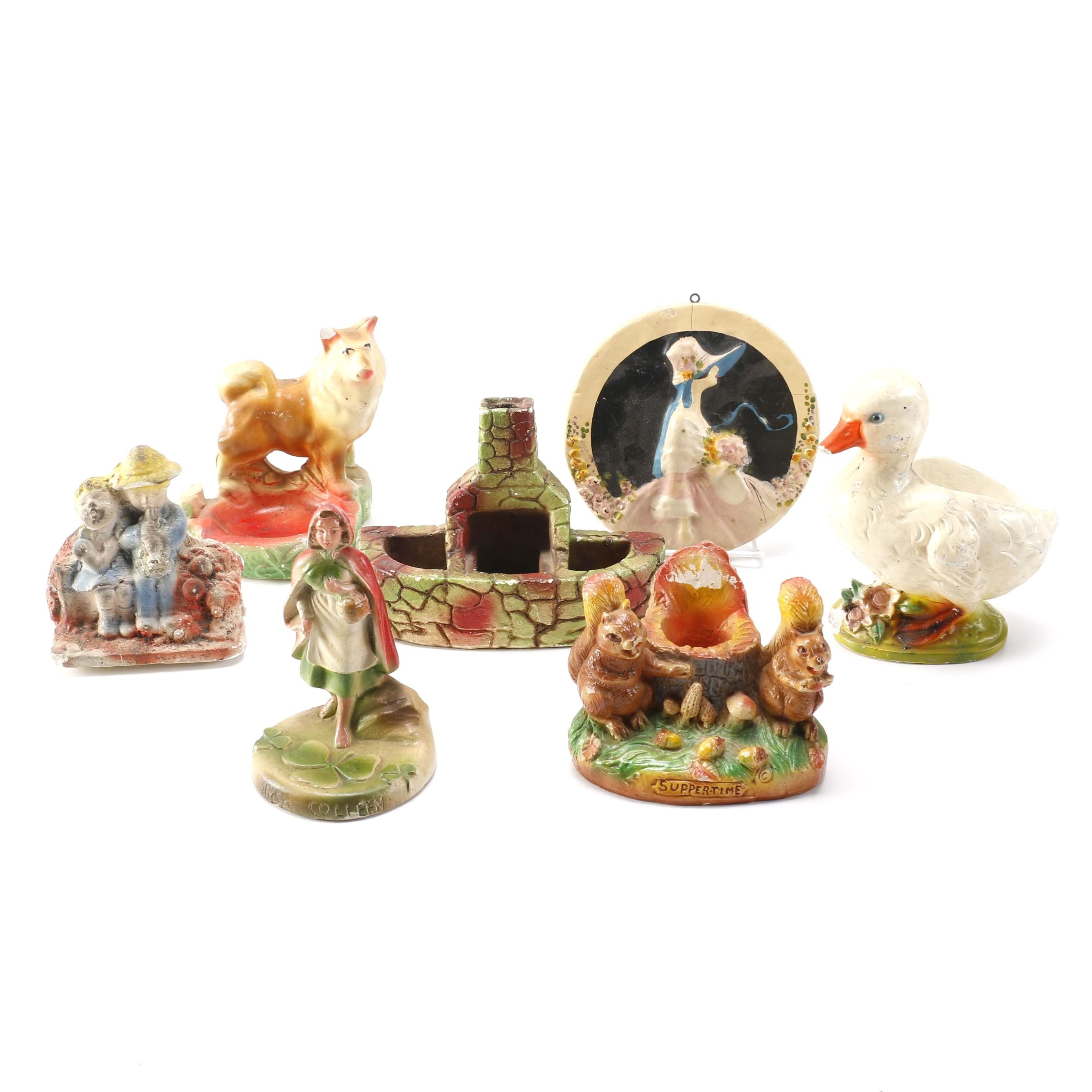 Collection of Carnival Chalkware Figurines